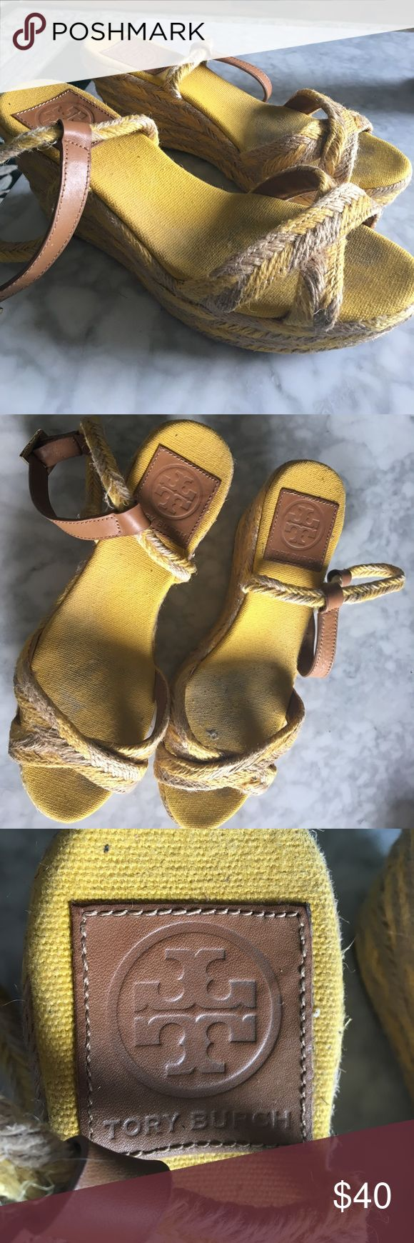 Tory Burch Yellow Espadrille Sandals size 7.5 Barely worn!! Tory Burch Shoes Espadrilles