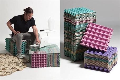 Asiento reciclado con hueveras manualidades pinterest - Manualidades con hueveras ...