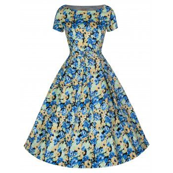 Adelaide Blue And Yellow Dress | Vintage Inspired Fashion - Lindy Bop