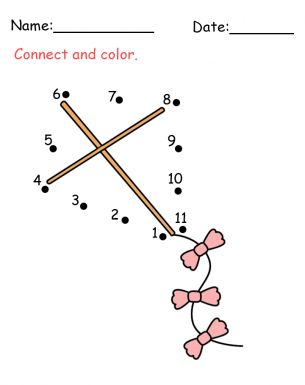 Kite Connect The Dots Activity! Make this for a quite book. Use felt for the kite shapes and stitch on yarn at the #1 long enough to use to connect the dots.