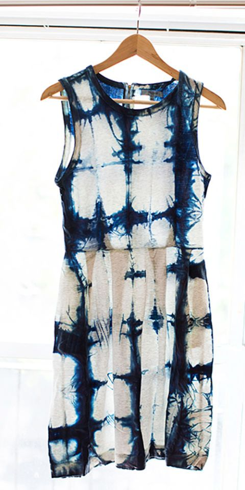 The Japanese technique of Shibori tie-dye ups the ante of your childhood summer pastime. Give a forgotten white dress a total makeover.
