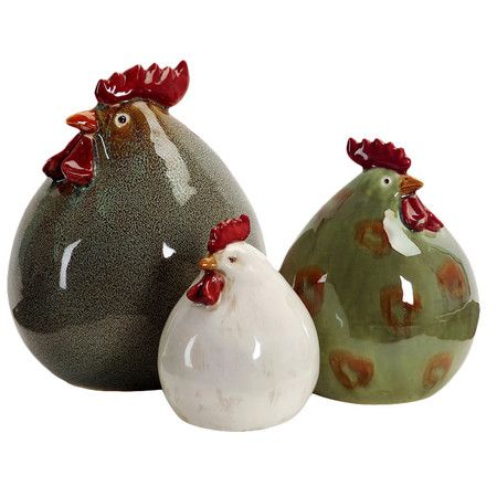 Set of three multicolor ceramic chickens decor.  Product: 3 Piece decor set Construction Material: Ceramic