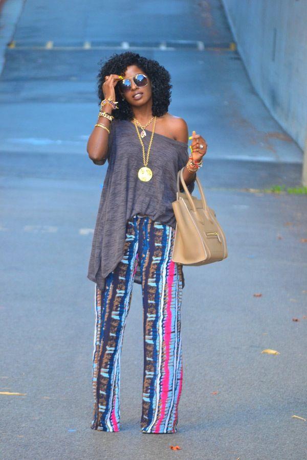 Style Pantry | Oversize Boho Blouse + Tribal Print Wide-Leg Pants