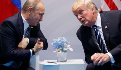 Breitbart is among darlings of Russian propaganda  -  August 25, 2017:   In this July 7, 2017 file photo, President Trump meets with Russian President Vladimir Putin at the G20 Summit in Hamburg, Germany.