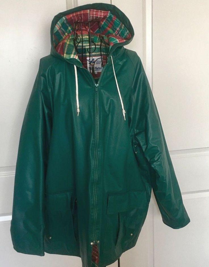 VTG Misty Harbor Green Vinyl Jacket Rain Coat Hood Plaid Water Resistant Large #MistyHarbor #JacketRainCoat