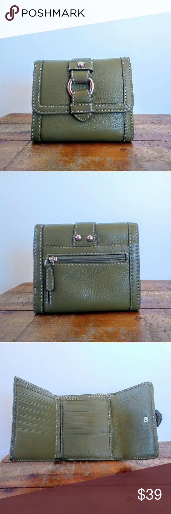 "Banana Republic Leather Buckle Wallet Cute wallet from Banana Republic, made from green leather with silvertone hardware and signature satin lining. Snap closure, 1 zip pocket on the back, and 2 cash slots, 2 slide pockets and 12 card slots inside. Like new condition. Measures 5.5""×4.5"" closed and 12"" long when open. Banana Republic Bags Wallets"