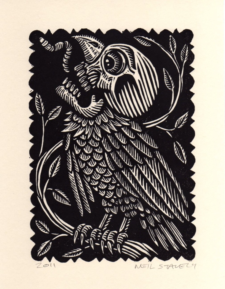 Skull Vulture Linoleum Block Print available on Etsy 61923757 from Horse & Hare