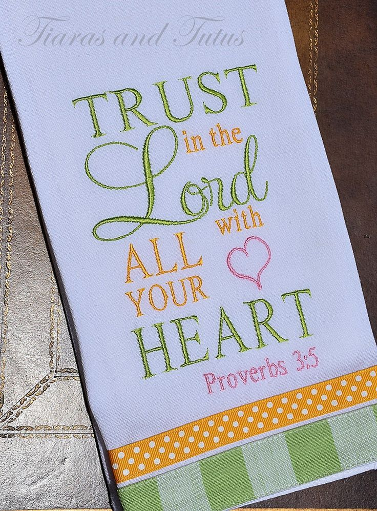 Kitchen Towel Embroidered With Bible Verse Linen Bridal