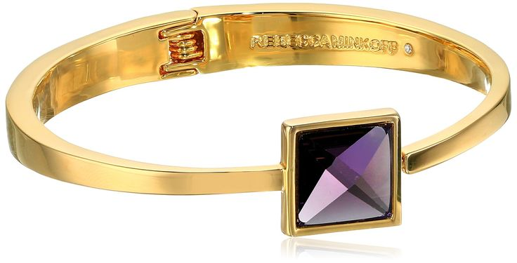 Rebecca Minkoff Stone Hinge Gold With Purple Bangle Bracelet. Made in China. Gold or rhodium plated bracelet with purple, blue, or green stones. Store in protective pouch, do not wear in water. Designed in New York, Made in China. Imported.