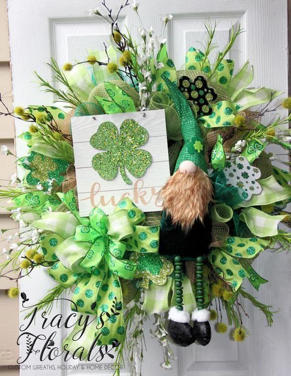 St Patricks Day Gnome Door Hanger