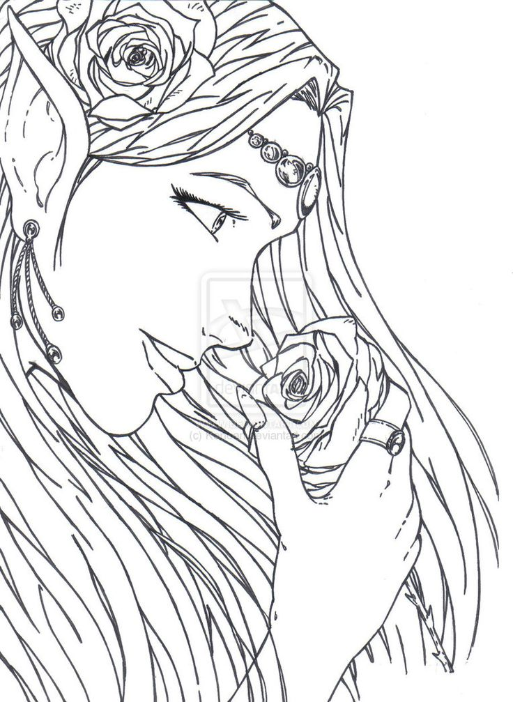 Elf Warrior Coloring Page The