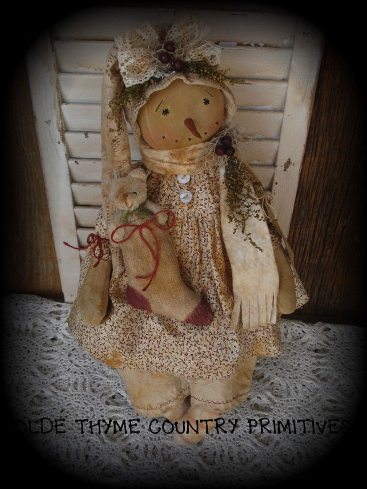 Primitive Snowman Girl Doll~Winter~Christmas~Stocking  #NaivePrimitive