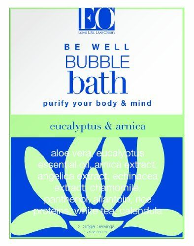EO Bubble Bath Be Well, Eucalyptus and Arnica, 1.75 Ounce (Pack of 3) by EO. $9.87. Aloe vera and vegetable glycerin attract moisture to skin and maintain optimal hydration balance. Naturally derived plant panthenol (vitamin b) restores needed moisture and smooths skin. EO purifying complex with arnica, angelica, and echinacea in a powerful and stimulating blend to address muscle aches and soreness. Allantoin, from the comfrey plant is renowned for its ability to soothe...
