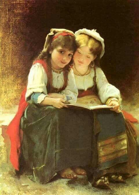 Kitap okuyan kızlar.