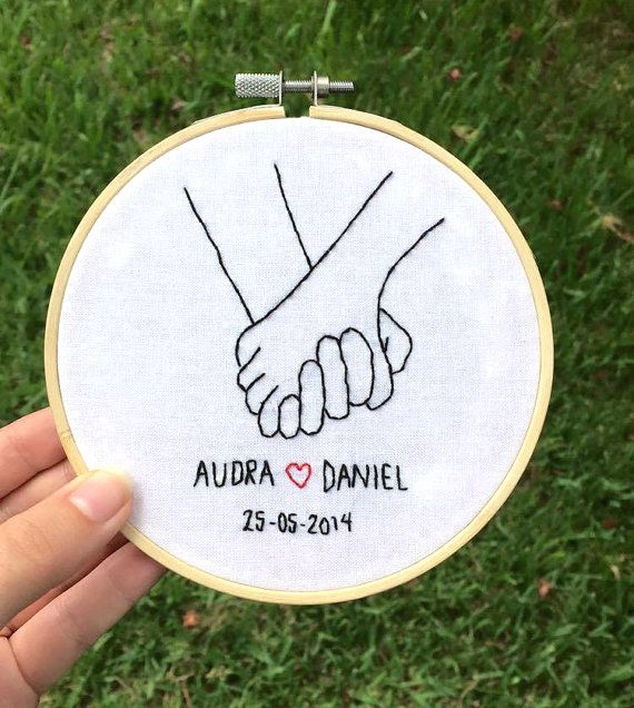 Personalised Couple Holding Hands Embroidery Hoop by ivyandthorn