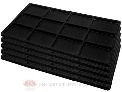 5 Black Insert Tray Liners W/ 12 Compartments Drawer Orga...