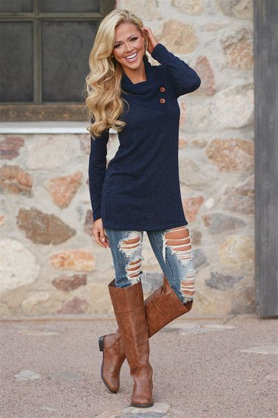 A Matter of Fact Cowl Neck Sweater - Navy from Closet Candy Boutique #fashion #shop