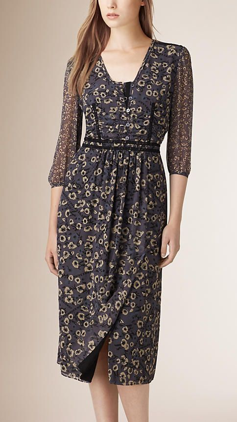 Stone blue Floral Print Silk Dress - Image 3