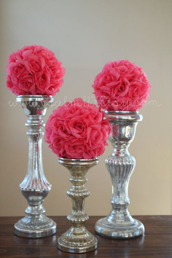 6 - 6 inch wide - PINK - wedding pomanders -  you choose ribbon color. $60.00, via Etsy. - wedding pomander flower ball - wedding reception table decoration flower balls on candle sticks or clear glass vases - adoption fundraiser DRC DR Congo