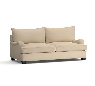 Sectional Sofas PB Comfort English Arm Upholstered Sleeper Sofa Knife Edge Polyester Wrapped Cushions Twill Parchment