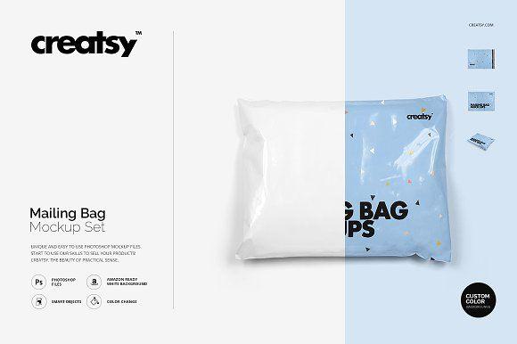 Download Mailing Bag Mockup Set Bag Mockup Packaging Mockup Business Card Logo
