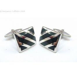 Classic Black Stripes Cufflinks - The quintessential classic black stripe cufflink.   Says it all really. Rectangular cufflinks with black enamel stripe inserts