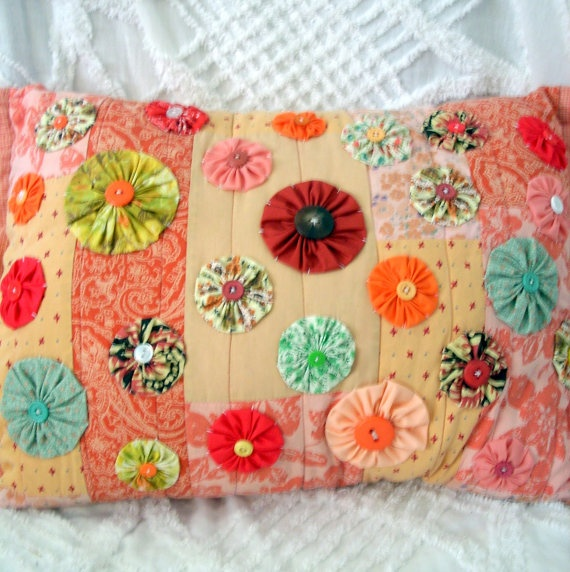 Vintage Style Pillow Made with Vintage Quilted by AuntAmandasAttic, $32.00  one of a kind pillow http://www.WhimseyWabbit.etsy.com