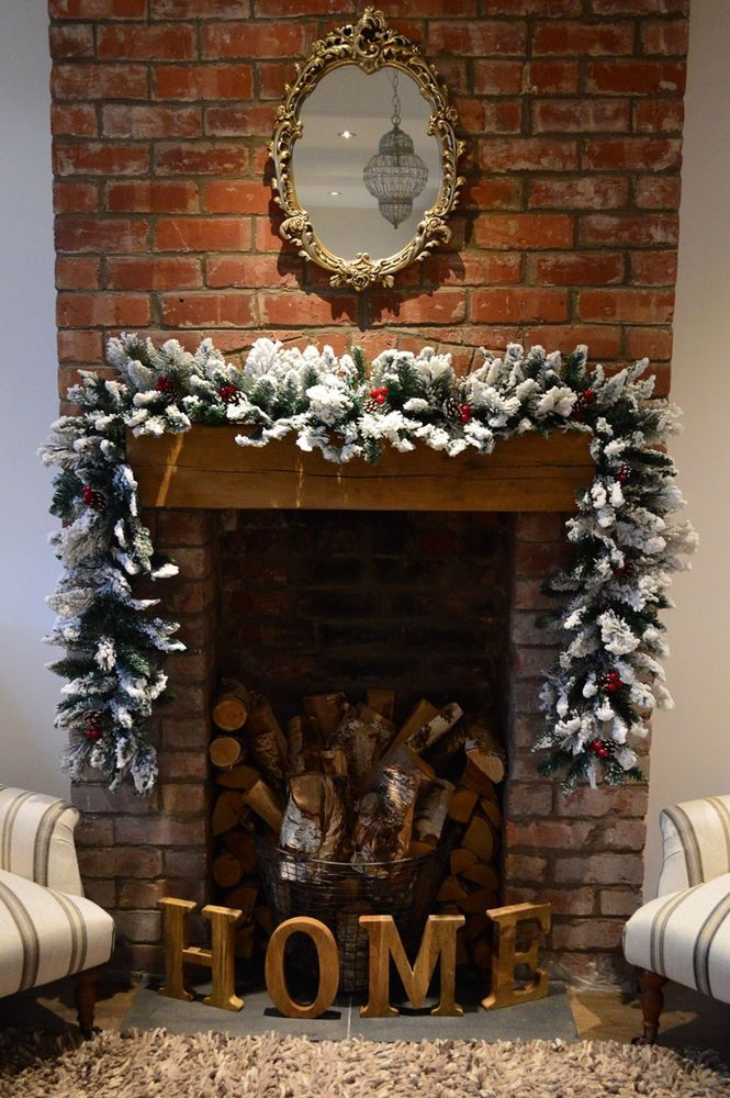 2.7m (9ft) Luxury #Christmas Snow Flocked Green #Garland with PVC Berries Cones Premier