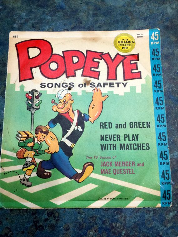 Vintage Popeye Songs of Safety Golden Record 1950 by LeftoverStuff