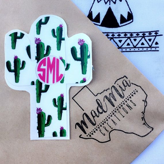 Cactus Monogram Decal choose your own colors by MadMiaCreations