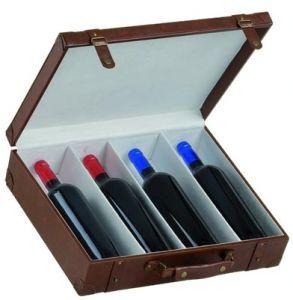 Cassetta in pelle con separatore per 4 bottiglie di vino da 750 ml. con portafoto.