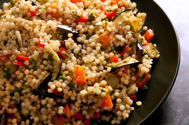 Grilled Eggplant and Red Pepper with Israeli Couscous-