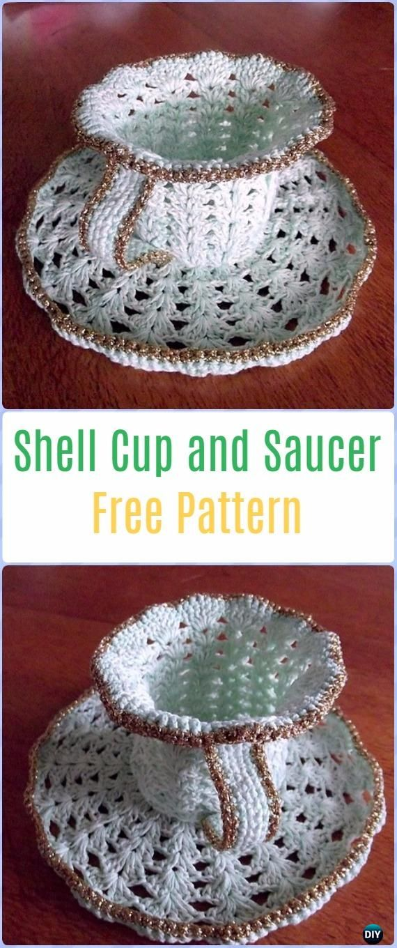 Crochet Shell Cup and Saucer Free Pattern - Crochet Teacup Patterns