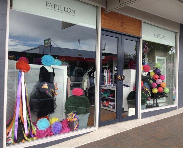 Papillon's Village Street Carnival Window display #lovethevillage