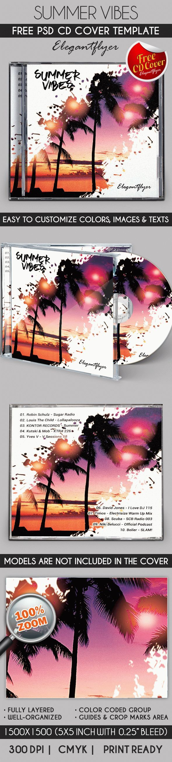 Summer Vibes – Free CD Cover PSD Template