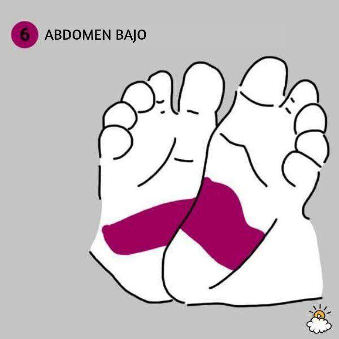ilustración abdomen bajo reflexiología de pies para salud de tu bebé