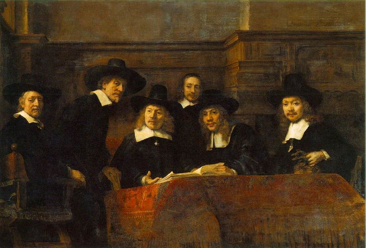 Rembrandt  The Syndics of the Clothmaker's Guild (The Staalmeesters)   1662 (130 Kb); Oil on canvas, 191.5 x 279 cm; Rijksmuseum, Amsterdam