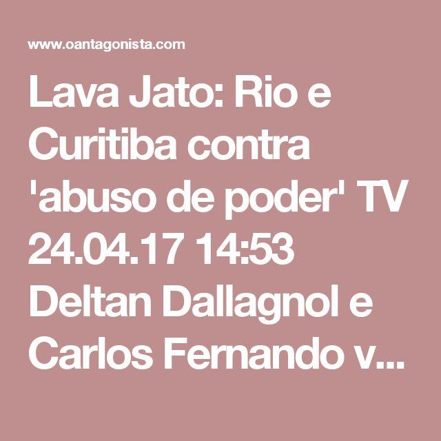 """Lava Jato: Rio e Curitiba contra 'abuso de poder'  TV 24.04.17 14:53 Deltan Dallagnol e Carlos Fernando voltaram a gravar vídeo em que pedem apoio da população contra a aprovação do projeto de abuso de autoridade. Juntou-se aos dois o procurador Eduardo Hage, coordenador da Lava Jato no Rio. 'É uma reação às investigações. A Lava Jato está em risco"""", diz Hage."""