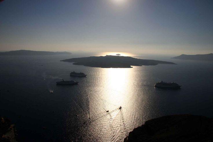 Thira, tramonto sulla caldera