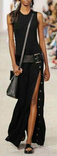 Love the silt now the side, love the cut off shoulders and the t-shirt dress look.