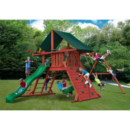 Gorilla Playsets Sun Climber I Wood Swing Set with Canvas Green Canopy Image 2 of 2