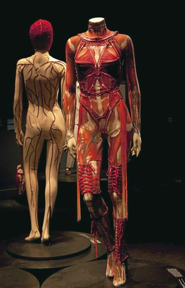 Gaultier fringed muscle suit #anatomy #fashion #Gaultier
