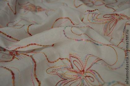РЕДКИЙ! Лен с вышивкой - ткани для рукоделия,ткани для творчества,ткани для шитья