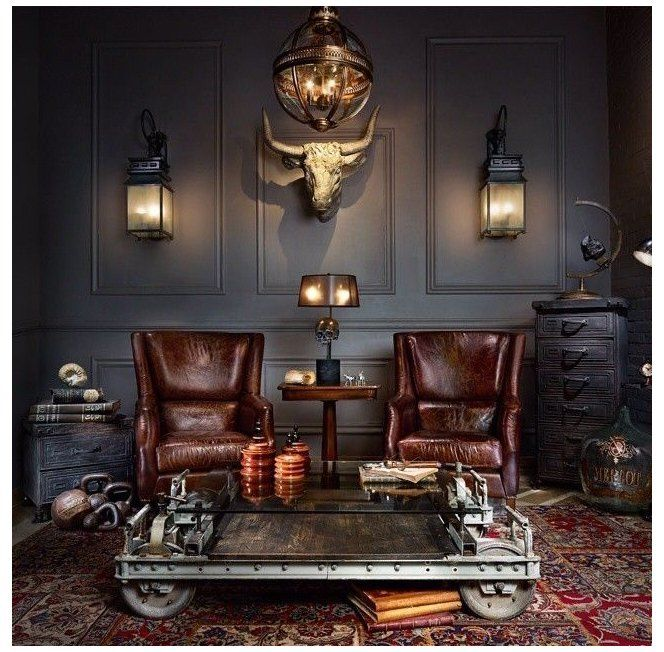 Home Cigar Lounge For A Lounge Dark Colors Paneled Walls Sconces Statement Chandelier Dark Furnitu Lounge Interiors Cigar Room Decor Cigar Lounge Decor