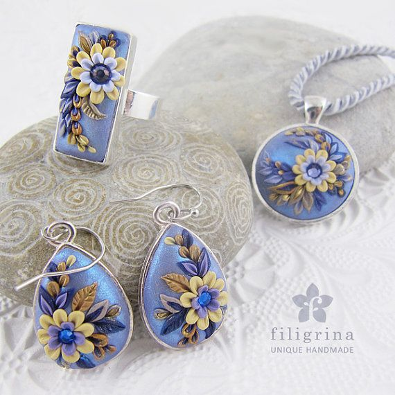 Polymer clay filigree applique technique, handmade jewelry, pendant earrings and ring, blue silver and ivory, vintage, wedding jewelry, flowers, floral jewelry  TWILIGHT jewelry set handsculpted from polymer clay by Filigrina, €58.37