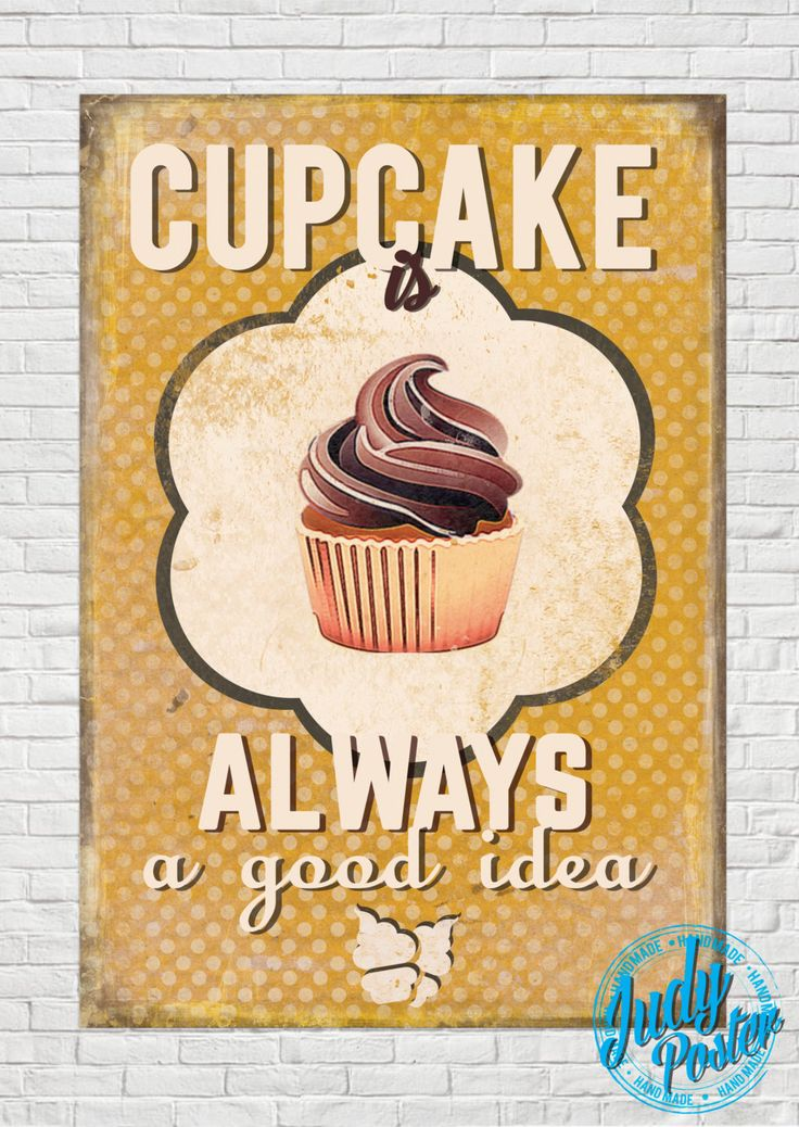 Vintage / Retro Sign Old Style Wall Decor Cupcake poster by Judydesignstore on Etsy