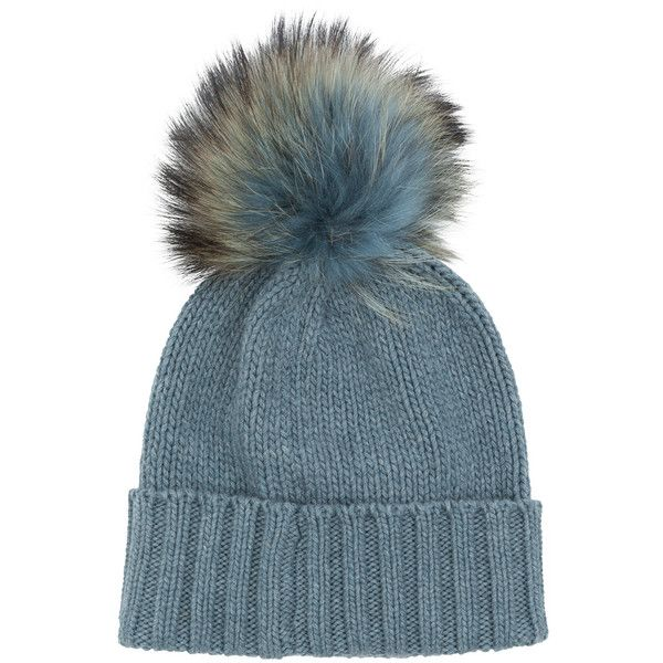 Inverni Ice Cashmere Beanie With Fur Pom Pom (395 CAD) ❤ liked on Polyvore featuring accessories, hats, grey, gray beanie hat, grey hat, gray hat, ribbed beanie and fur beanie hat