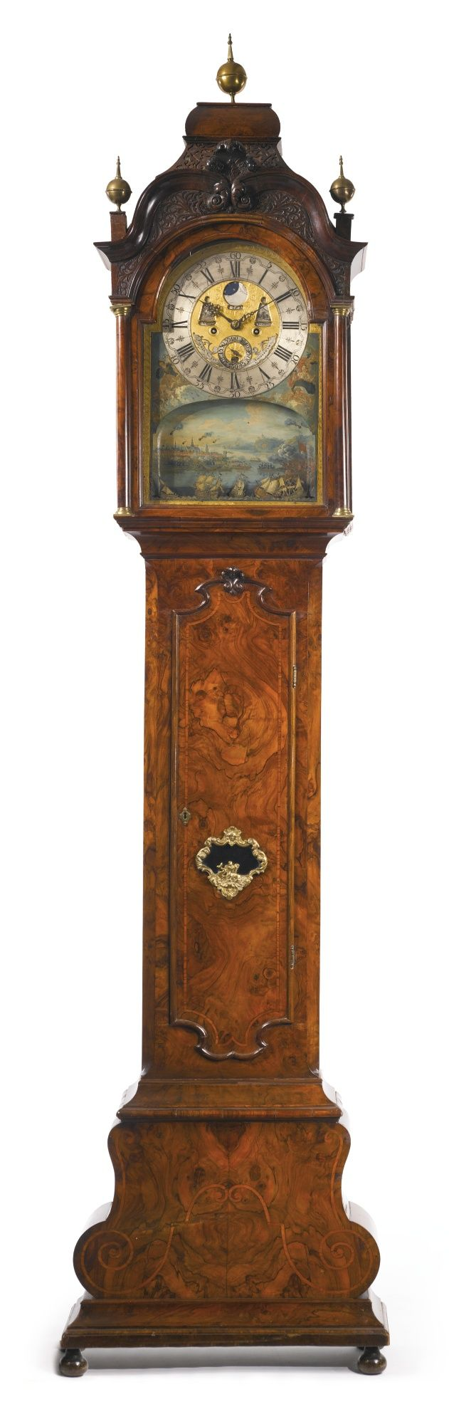 A DUTCH ROCOCO GILT METAL-MOUNTED BURR WALNUT LONGCASE CLOCK SECOND HALF 18TH CENTURY, THE DIAL SIGNED PIETER SWAAN AMSTERDAM
