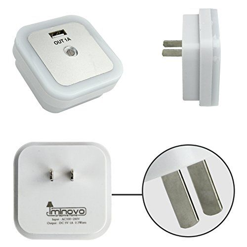 IMINOVO 2 PACK Light Sensor Night Light USB Charger,Wall Plate Charger Port for Smartphones and Tablet,Cordless Wall Light Auto ON/OFF Step Light for Hallway, Closet, Stairs, Bedroom, Nursery.