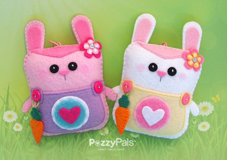 PP mini Bunny w/FREE Carrot Dangle, Made To Order, Pals with Pouches,Easter Basket Stuffers, Spring Gifts, Tooth Fairy Pillow, Bag Accessory by PozzyPals on Etsy https://www.etsy.com/listing/206735675/pp-mini-bunny-wfree-carrot-dangle-made